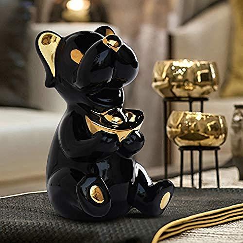 LJXLXY Dekoration Kunst Büro Skulptur niedlichen hundeförmigen Goldbarren Imitation Keramik Desktop Home Geschenke
