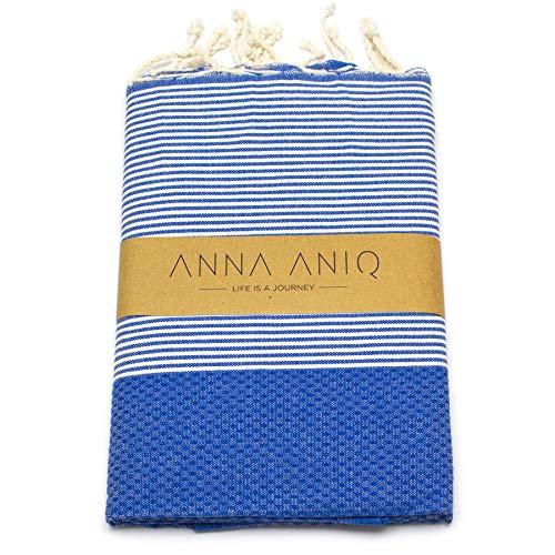 ANNA ANIQ Hamamtuch Fouta Sauna-Tuch XXL Extra Groß 200 x 100cm - 100% Baumwolle aus Tunesien als Strand-Tuch, orientalisches Bade-Tuch, Picknick, Yoga, Schal, Pestemal, Strand-Handtuch (Blau)