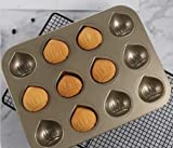 Brynnl Muffin Cake Baking pan, Chestnut-Shaped 12-Cavity Stainless Steel Non-Stick Bakeware Quick Release Cake Muffin Bake Pan for Oven Baking Pudding Dessert(Champagne Gold)