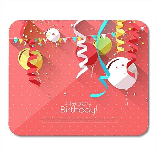 Schreibtischunterlage,Geburt Rosa Baby Süßer Geburtstag Mit Bunten Luftballons Und Platz Für Text Geborene Ankündigung Weiche Bequeme Laptop-Gaming-Pad,25x30cm