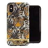 Funda de Richmond and Finch diseñada para iPhone X, Funda Tigre Tropical para iPhone X/XS con Detalles Plateados - Negro