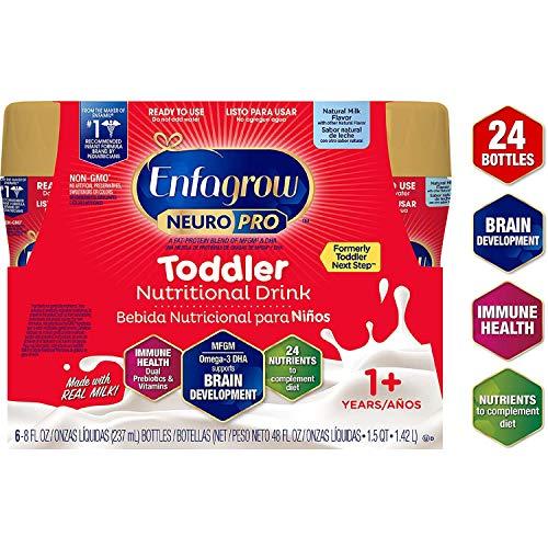 Enfagrow NeuroPro Toddler Nutritional Drink 8 fl. oz. Ready to Use (24 Bottles) Prebiotics for Immune Support, DHA for Brain Development, Iron, Non-GMO, Natural Milk Flavor (Toddler Next Step) Enfamil