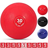 Weighted Slam Ball by Day 1 Fitness – 30 lbs RED - No Bounce Medicine Ball - Gym Equipment Accessories for High Intensity Exercise, Functional Strength Training, Cardio, CrossFit