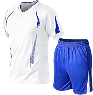Men's Casual Tracksuit Short Sleeve Running Jogging Athletic Sports T-Shirts and Shorts Suit Set