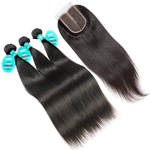 SS 7 A + qualité vierge cheveux raides tissage 25,4–50,8 cm chooseable et 10,2 x 10,2 cm partie au milieu Fermeture en dentelle (Lot de 4, # 1b)