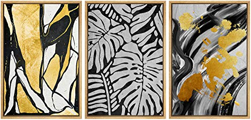 SIGNWIN Framed Canvas Wall Art Black and Gold Pattern with Black-White Monstera Leaves Abstract Oil Painting Modern Expressive for Living Room, Bedroom, Office - 16