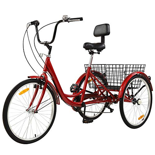 Sibosen Adult Tricycles for Women/Men, Adult Trikes 7 Speed 24 Inch 3 Wheel Bike Cruiser Bicycles w/Low Step-Through Frame Large Shopping Basket - USA Warehouse Delivery