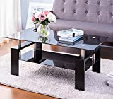 Black Highlight Glass Top Cocktail Coffee Table, Rectangle Glass Coffee Table, Modern Side Center Tables for Living Room, Living Room Furniture, Wooden Legs, Large Storage Space, Easy-Setup