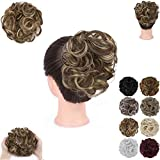 GIRLSHOW Elastic Wave Curly Hair Buns Chignons Hair Scrunchy Extensions Wrap Ponytail Updos Tousled Bun Hairpieces for Women Girls (Ash Blonde & Medium Golden Brown Mixed -#60)