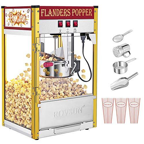 """ROVSUN Popcorn Machine w/ 8 Ounce Kettle, 850W Countertop Popcorn Maker w/Single Door, Stainless Steel Popcorn Scoop, Oil Spoon & 3 Popcorn Cups, 17.2""""L x 14.6""""W x 23.2""""H, Red"""