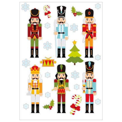 Planche de Stickers Décoration de Noël - Soldat Casse-Noisette pour Vitre ou Surface Murale - Format A5