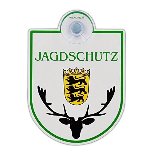 """Saugnapfschild Schild """"Jagdschutz - Baden Württemberg"""" Acrylschild 3mm mit Saugnapf 30mm, ca. 90x125 mm für Scheibeninnenbefestigung"""