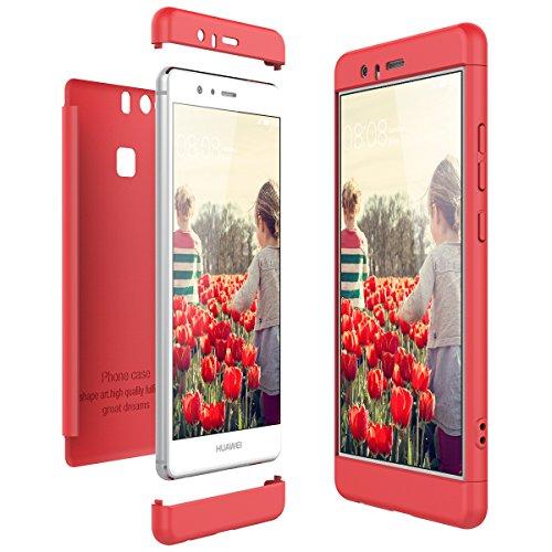 CE-Link Funda para Huawei P9 Rigida 360 Grados Integral, Carcasa Huawei P9 Silicona Snap On Diseño Antigolpes Choque Absorción, Huawei P9 Case Bumper 3 en 1 Estructura - Rojo