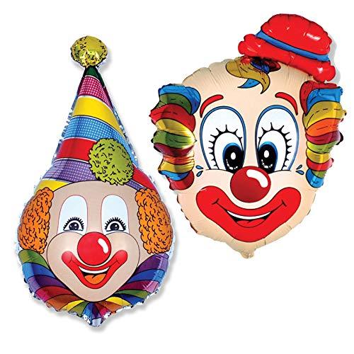 Ballonim® Clown Ballons ca. 80cm Luftballons Folienballon Geburtstag Figur deko XXL (Clown mit Hut)