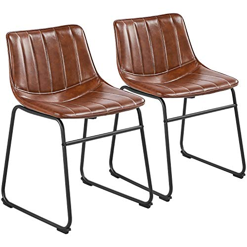 Yaheetech 18'' Industrial Bar Stools PU Leather Industrial Chairs Armless Upholstered Chairs with Backrest and Metal Legs Armless Chairs for Home Kitchen Dining Room Restaurant Set of 2, Brown
