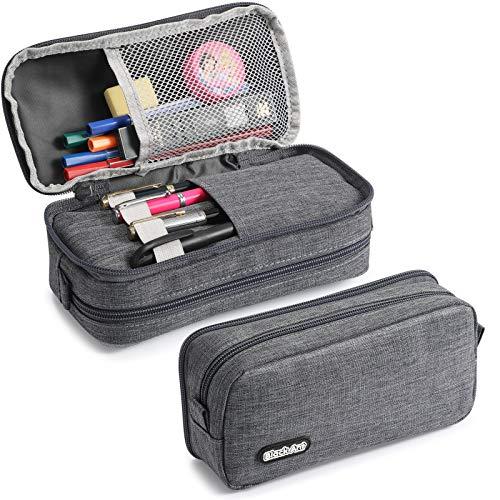 MYLIES Trousse Scolaire,Trousse de Crayon Multifonction, 2 CouchesTrousse à Crayons Grande Capacité Trousse à Maquillage Organisateur,pour Fournitures de Bureau pour le Collège(Grey)