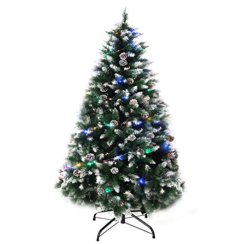 Agreatca Artificial Christmas Tree 6ft Xmas Pine Tree with 100 LED Lights for Home Living Room Holiday Decoration, 800 Snow Flocked Tips, Foldable Metal Stand, Green
