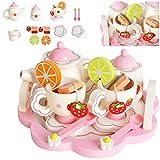 KRUZZEL Kinder Teeservice Set Holz Zubehör für die Kinderküche, 16-TLG. ab 3 Jahre Rollenspiele Für Mädchen und Jungs 9418