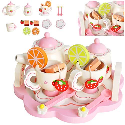 KRUZZEL Juego de té para niños de madera, accesorios para la cocina infantil, 16 piezas, a partir de 3 años, juego de rol para niñas y niños 9418