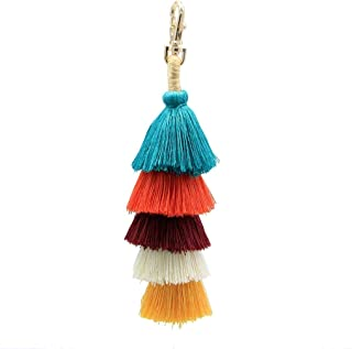 Juesi Colorful Tassel Charm Keychain Handbags Bag Pendant Key Ring Straw Boho Pom Tassels Key buckle Gift for Women Girls