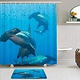 vhg8dweh Ensembles de Rideaux de Douche de Marque avec Tapis,Trois Requins marteaux,avec 12 Crochets
