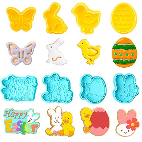 Easter Cookie Cutters Set 8PCS With Egg Bunny Butterfly Chick Fondant Biscuit Molds Baking Cake Stamps Decoration DIY Tools