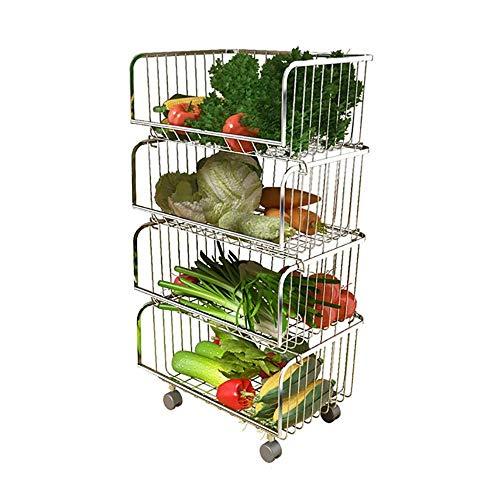 Küchenregal Mit Riemenscheibe Abtropfkorb Aus 304 Rostfreiem Stahl Für Gemüse Und Obst Bodengestell Mit Mehrlagigem Rollenwagen Und Geschirr,4Tier