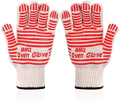 Revolutionary 250°C Extreme Heat Resistant EN407 Certified Heat Resistant Oven Gloves Hot Surface Handler Made from Nomex and Kevlar - Non-Slip Kitchen Silicone Gloves Five Fingers(Red(2 PCS))