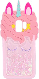 Quicksand Pink Unicorn Samsung S9 Plus Case,Awin 3D Cute Unicorn Dynamic Liquid Bling Glitter Soft Silicone Rubber Case for Samsung Galaxy S9 Plus 6.2inch (Quicksand Unicorn)