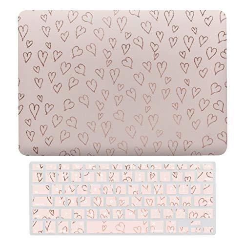 Carcasa rígida de plástico y cubierta de teclado compatible con MacBook Air 13 (modelos: A1466, A1369), moderno oro rosa pastel rosa rosa corazón patrón teclado portátil Membrana protectora Shell Set