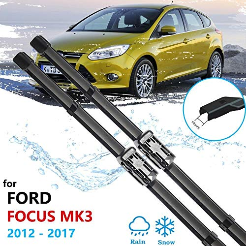 ZHGHS para Ford Focus 3 2012~2017 MK3 Cuchillas de limpiaparabrisas Cuchillas Delanteras Windowshield Windshield Accesorios DE Coches Pegatinas 2013 2014 2015 2016 Escobilla de limpiaparabrisas