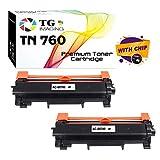 (2-Pack) TG Imaging Compatible TN-760 TN-730 Toner Cartridge TN760 Used for Brother TN-760 DCP-L2550DW L2350DW L2370DW L2370DWXL L2390DW L2395DW MFC-L2710DW L2750DW L2750DWXL Printer