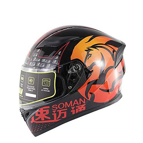 WGFGXQ Motorrad-Integralhelm DOT-Zertifizierung Straßenrennen Motorradhelm Cromwell-Helm Jet Doppelspiegel Modularer Flip-Helm (M, L, XL, XXL), Rot, XL