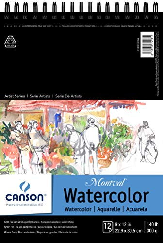 CANSON Montval Watercolor Pad, Cold Press Acid Free French Paper, Top Wire Bound, 140 Pound, 9 x 12 Inch, 12 Sheets, 9'X12', 0