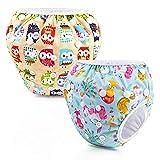 Riutilizzabile Pannolini da nuoto (Confezione da 2), Costume Pannolino Lavabili, Impermeabile Pannolino Piscina (0-3 anni), Flamingo+Civetta