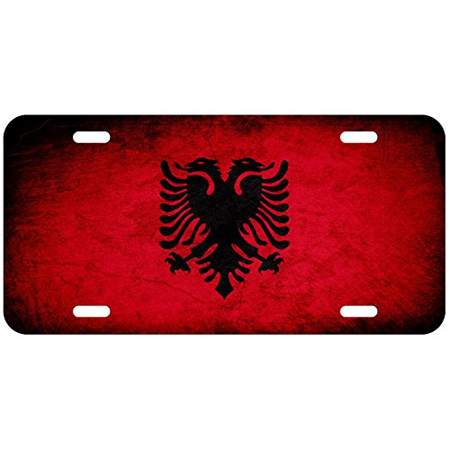 ExpressItBest High Grade Aluminum License Plate - Flag of Albania (Albanian) - Rustic