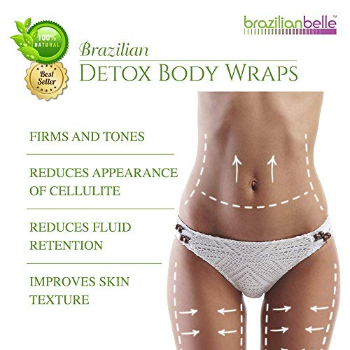 Brazilian Detox Clay Body Wraps Slimming Home Spa Treatment for Cellulite, Weight Loss, Stretch Marks | Natural, Purifying Detoxifier for Smooth, Toned Skin (10 Applications)