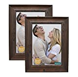 decanit 8x10 Picture Frames Rustic Distressed Brown Wood Pattern High Definition Glass for Table Top Display and Wall Mounting Photo Frame,Pack of 2