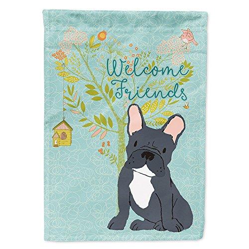Caroline's Treasures BB7632GF Welcome Friends Black French Bulldog Flag Garden Size, Small, Multicolor