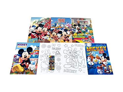 12 Sets of Disney Mickey Mouse & Friends Coloring Books and Crayon Set Children Party Favors Bag Filler