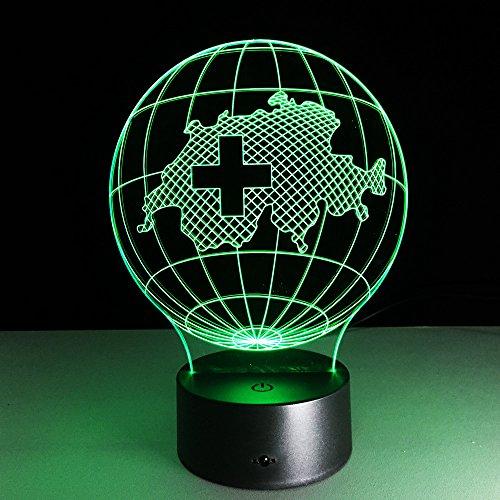 Yujzpl 3D-illusielamp Led-nachtlampje, USB-aangedreven 7 kleuren Knipperende aanraakschakelaar Slaapkamer Decoratie Verlichting voor kinderen Kerstcadeau-Kaart van Zwitserland