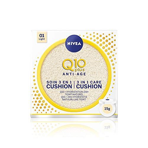 NIVEA Q10 Plus Cushion 3 en 1 Teinte Claire (1 x 15 ml), soin visage femme anti-âge, fond de teint pour tous types de peaux, maquillage femme hydratant