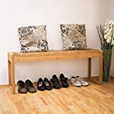 Relaxdays Sitzbank Bambus stabile und geräumige Gartenbank - 2