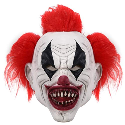 N/A. Mscara de ltex de cara completa para Halloween, pelo rojo sangriento, boca sangrienta, payaso zombie, disfraz de fiesta de disfraces, accesorios para fotografa