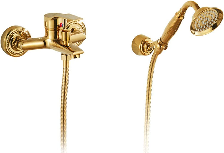 Simple Shower Set Continental gold Copper Shower Head Bathtub Faucet
