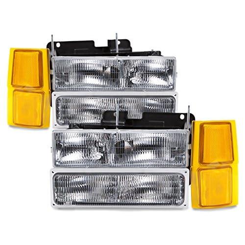 HEADLIGHTSDEPOT Compatible with Chevy Silverado Suburban Blazer Headlamps Headlight Assembly 8PC Set Pair OEM Style