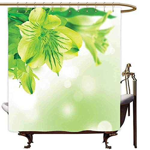 N / A Frische Blumenblüte mit Blättern Abstrakter Bokeh-Hintergr& Gartenpflanze Lindgrüner apfelgrüner Duschvorhang-B180xH200cm