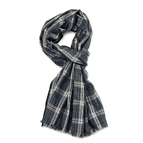 ROYALZ Schal für Herren kariert klassisch 100% Baumwolle Herrenschal weich leicht dünn Karo Muster oder gestreift Halstuch ganzjährig Accessoires mehrfarbig, Farbe:Kariert Blau/Weiß/Rot
