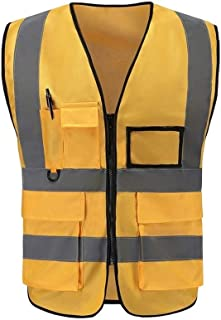 Multi-pocket Reflective Vest Reflective Vest Safety Clothing Cycling Traffic Sanitation Warning Safety Clothes Night Cars (Color : Orange)
