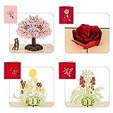 Kesote 3D Pop Up Karte Set, 4 Stück Glückwunschkarte mit 4 Stück Umschläge und Sticker (Liebe und Blume)